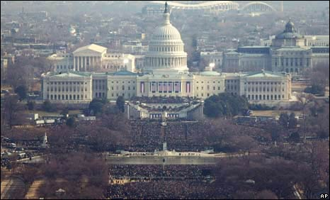 Crowds gather on the National Mall in Washington DC
