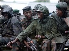 Former Congolese Tutsi rebel soldiers, working with Congo's army, just outside Goma, DR Congo, on 20 January 2009