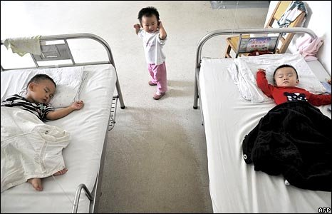 Chinese babies in hospital in Wuhan, Hubei province, in September