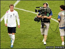 A cameraman comes in for close-up of David Beckham at World Cup 2006