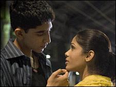 Dev Patel (l) and Freida Pinto in Slumdog Millionaire
