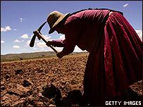 Una campesina trabaja la tierra en Bolivia