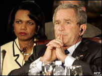 George W. Bush y Condoleezza Rice