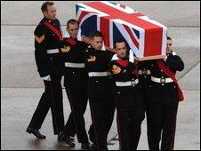 The body of Sergeant John Manuel of 45 Commando Royal Marines in Arbroath, Scotland being repatriated at RAF Lyneham, Wiltshire.