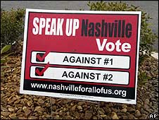 "A sign encourages people in Nashville to vote against the ""English First"" amendment"