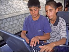 young boys accessing the internet