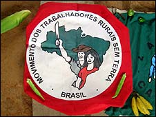 MST banner, the landless movement in Brazil