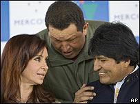 Chávez, Cristina Fernández y Evo Morales