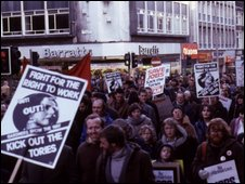 Unemployment demonstration in Liverpool in 1980