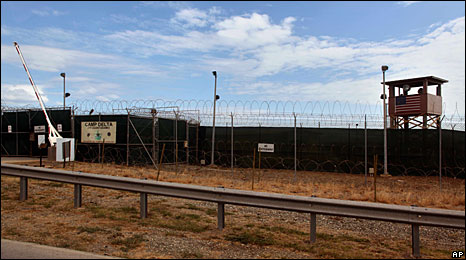 The gates of the Camp Delta prison facility, Guantanamo Bay