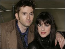 Michelle Ryan posing with the current Doctor Who David Tennant