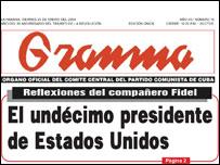Portada del diario cubano Granma de este viernes, 23 de enero