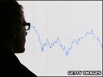 Man looks at graphs representing 12 months decline of FTS 100