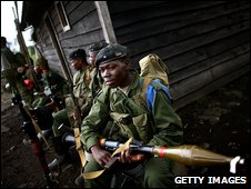 Congolese army soldiers ready to fight the rebel CNDP, November 2008
