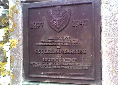 Plaque commemorating Marconi's radio experiements at Lavernock, south Wales