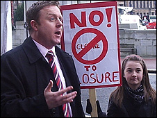 SNP MSP Bob Doris at school closure protest