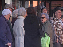 Pensioners queuing for off peak free bus travel in Chesterfield