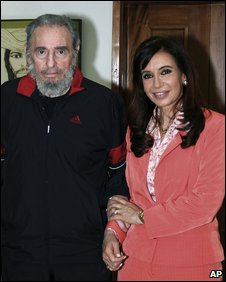 Fidel Castro with Argentina's Cristina Fernandez in Havana, 21 January 2009 (image from Argentine president's office)
