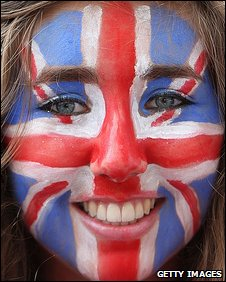 Women with Union flag painted on her face