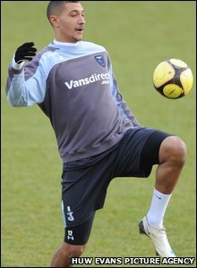 Former Arsenal striker Jay Bothroyd shows his skills in training ahead of the FA Cup clash