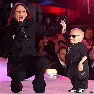 Verne Troyer and Davina McCall