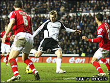 Rob Hulse scores Derby's opening goal