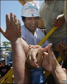 Evo Morales at a ceremony marking the takeover of Chaco in Santa Cruz, 23 Jan 2009