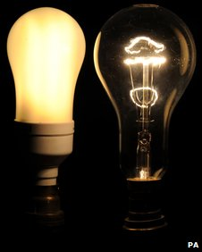 Traditional and energy efficient light bulbs