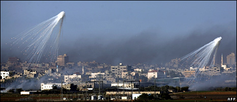 Israeli artillery shells explode above Gaza City on 4 January 2008