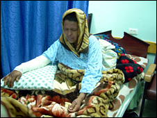 Sabah Abu Halima in her hospital bed