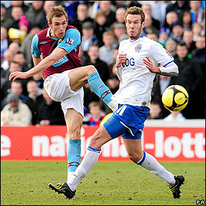 Jack Collison unleashes a shot at the Hartlepool goal
