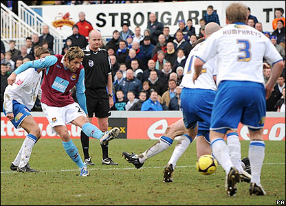 Valon Behrami fires in a 44th-minute opener for West Ham
