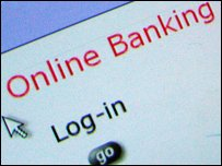 Online banking log in screen