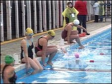 Swimmers at Tooting Bec Lido