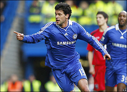 Michael Ballack celebrates putting Chelsea ahead