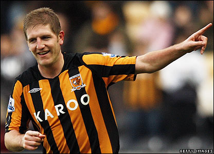 Michael Turner celebrates giving Hull the lead