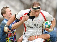BJ Botha on the charge for Ulster