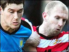 Gareth Roberts challenges Villa's Gareth Barry