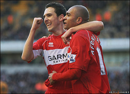 Afonso Alves celebrates scoring for Boro