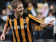 Michael Turner celebrates scoring for Hull