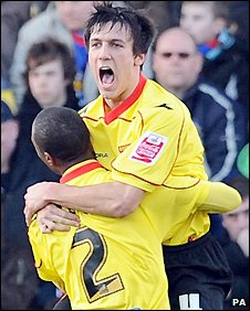 Jack Cork celebrates his Watford goal