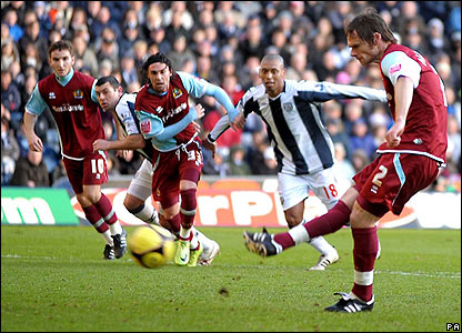 The Clarets lead through Graham Alexander's penalty
