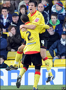 Watford's Jack Cork celebrates scoring his side's second goal