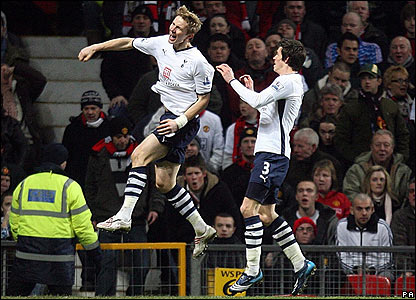 Roman Pavlyuchenko celebrates giving Spurs the lead