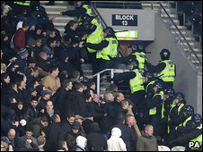 Police deal with supporters in Hull's KC Stadium