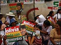 Seguidores de Morales en un evento en Cochabamba