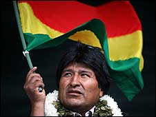 President Evo Morales at a rally in support of the new constitution (22 January)