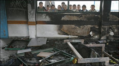Burnt-out classroom in Beit Lahiya (24/01/09)