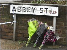 Tributes left at the scene in Plaistow