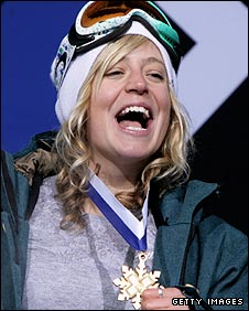 Jones celebrates winning gold in the slopestyle